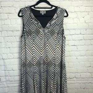 JM Collection Sleeveless black & tan dress. beaded